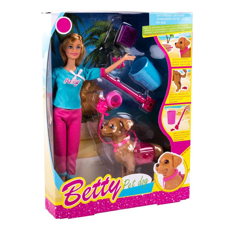 Papusa manechin Betty cu catelus si accesorii