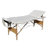 Pat pentru masaj pliabil, 3 sectiuni, structura lemn, alb