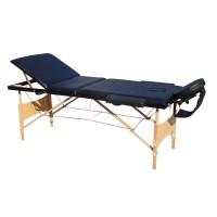 Pat pentru masaj pliabil, 3 sectiuni, structura lemn, negru