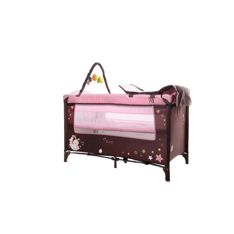 Pat pliant copii Sleepy Moni, 120 x 65 x 80 cm, masuta de infasat inclusa, 0-36 luni, Roz 2021 shopu.ro