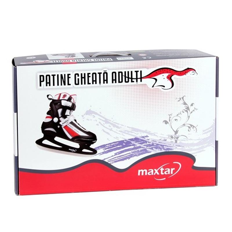 Patine gheata adulti Maxtar, marimea 40, PVC/poliester, Negru/Rosu
