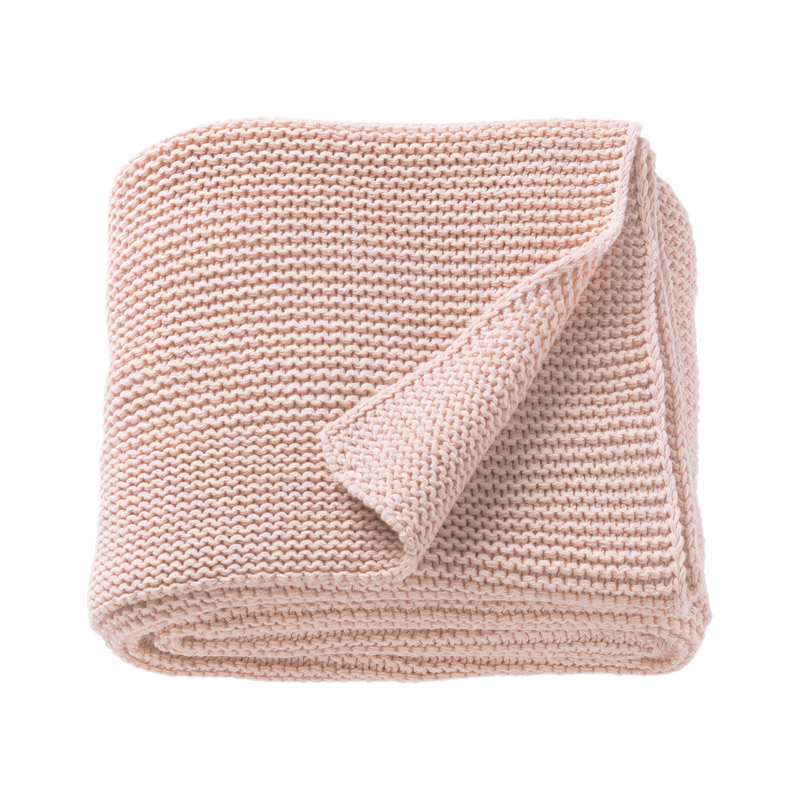 Patura acril tricotata single, 170 x 130 cm, roz shopu.ro