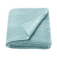 Patura acril tricotata single, 130 x 170 cm, albastru