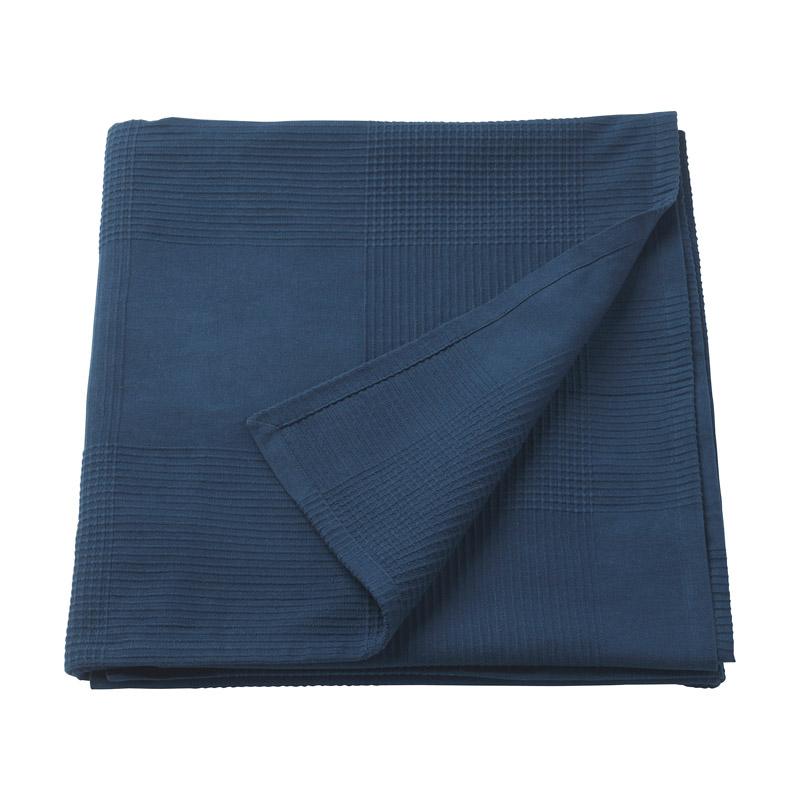 Patura dubla din bumbac tesut, 230 x 250 cm, albastru shopu.ro