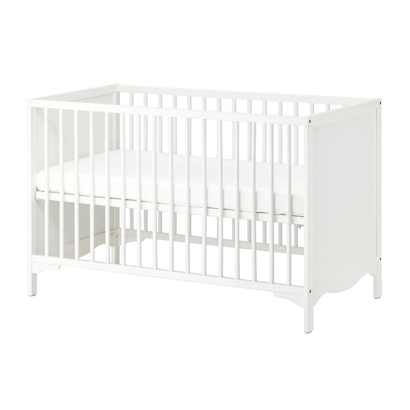 Patut pentru bebelusi, 60 x 120 cm, somiera reglabila, Alb 2021 shopu.ro