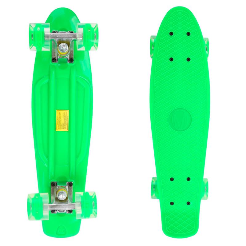 Penny Board, 56 cm, roti silicon cu lumini, verde 2021 shopu.ro