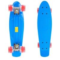 Penny Board, 56 cm, roti silicon cu lumini, albastru