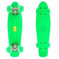 Penny Board, 56 cm, roti silicon cu lumini, verde