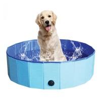 Piscina pliabila pentru catei Pet Party, 80 x 20 cm, PVC, Albastru
