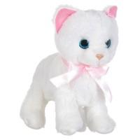 Pisica interactiva, 22 cm, Alb/Roz