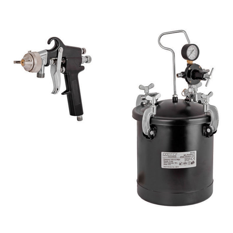 Pistol de vopsit Raider, 0.6 Mpa, 10 l, duza 2 mm, furtun 3 m, regulator de presiune inclus
