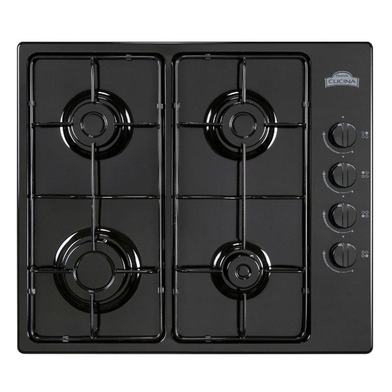 Plita clasica incorporabila pe gaz Nuova Cucina, 58 cm, 4 arzatoare, valva de siguranta, Negru 2021 shopu.ro