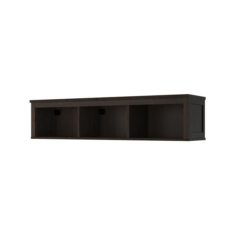 Polita lemn masin de pin, 148 x 37 x 34 cm, suporta maxim 45 kg, negru shopu.ro
