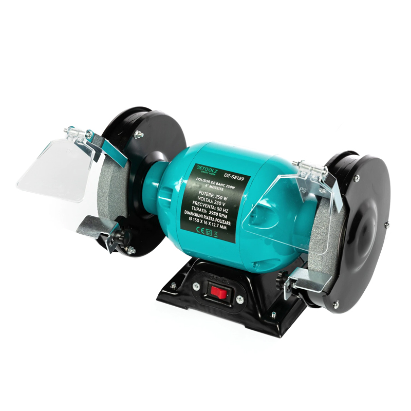 Polizor de banc Detoolz, 250 W, 6 inch, 2950 RPM, disc 150 mm, motor electric 2021 shopu.ro