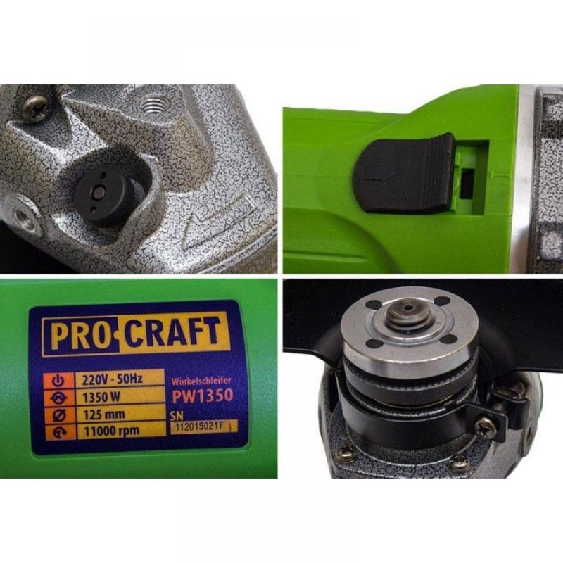 Polizor unghiular ProCraft PW1350, 1350 W, 11000 rpm, disc 125 mm shopu.ro
