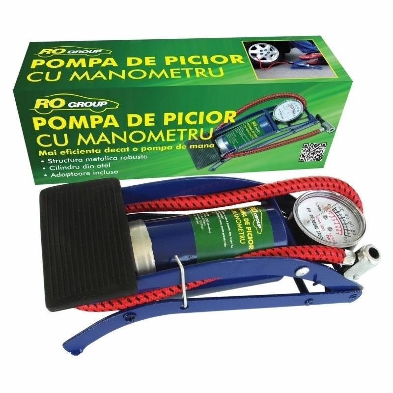 Pompa de picior cu manometru RoGroup, 7 bari 2021 shopu.ro