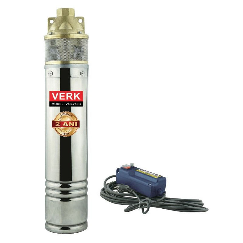 Pompa submersibila cu panou de comanda Verk, 750 W, 2900 l/h, adancime 50 m, inaltime 60 m, cablu 15 m, IP68