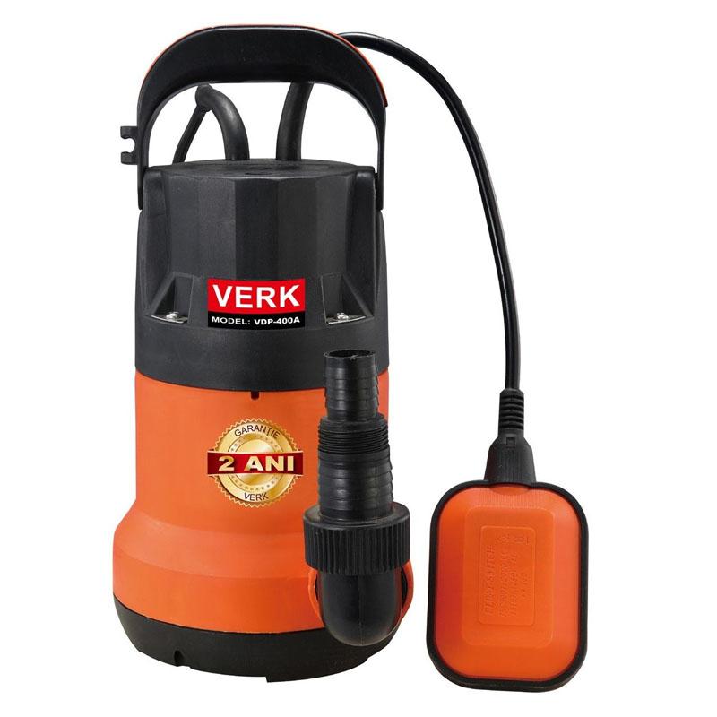 Pompa submersibila de apa murdara cu plutitor Verk, 400 W, 7500 l/h, adancime 6.5 m, inaltime 5 m 2021 shopu.ro