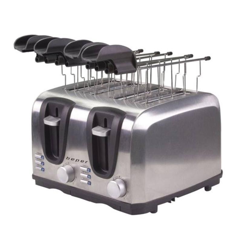 Prajitor de paine Beper, 1400 W, 4 felii, 3 functii, 7 nivele prajire, tava detasabila, Argintiu 2021 shopu.ro