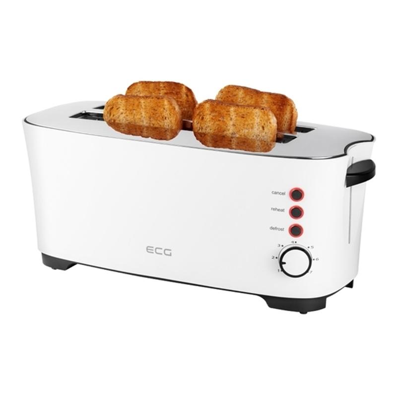 Prajitor de paine ECG, 1350 W, 4 felii, 7 nivele rumenire, Alb 2021 shopu.ro