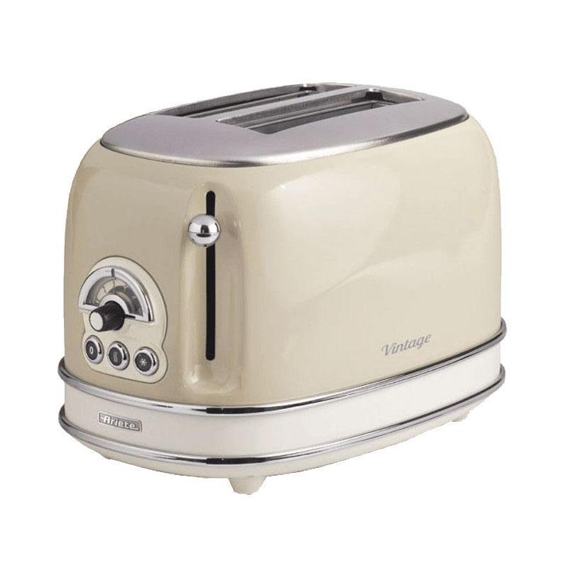 Prajitor de paine toaster Ariete Vintage, 810 W, 2 felii, 6 nivele de rumenire, evacuare automata, functie decongelare, Crem/Beige 2021 shopu.ro