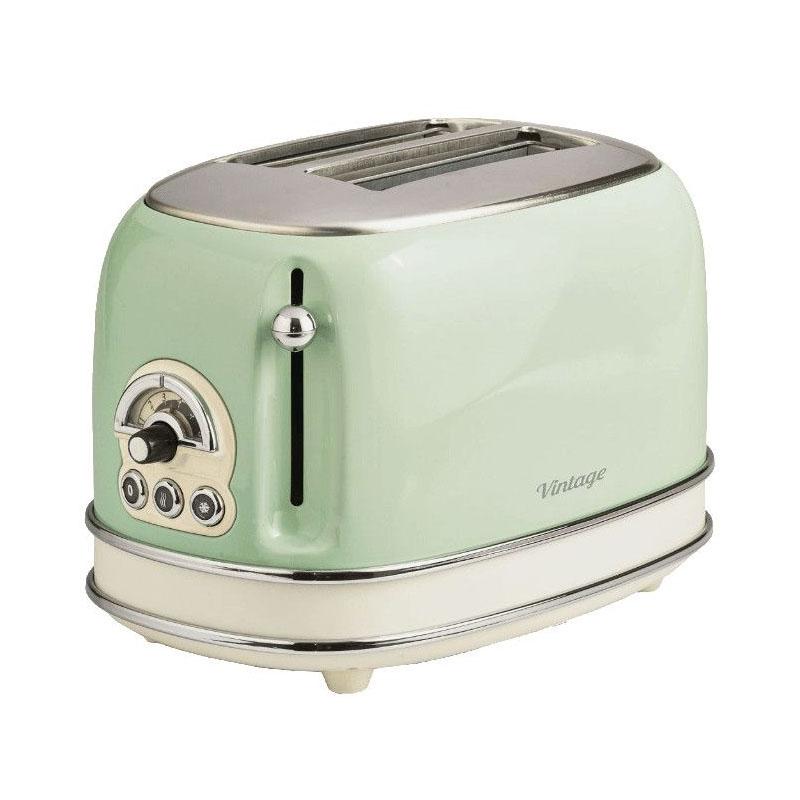 Prajitor de paine toaster Ariete Vintage, 810 W, 2 felii, 6 nivele de rumenire, gratare inox, functie decongelare, Verde 2021 shopu.ro