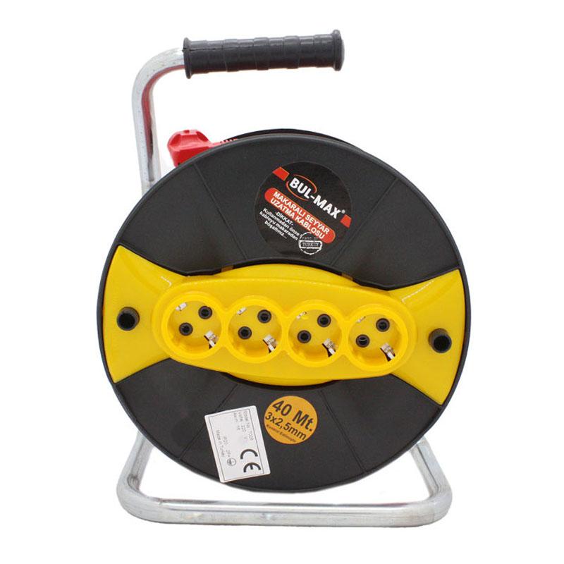 Prelungitor cu tambur Micul Fermier, 40 m, 3 x 2.5 mm, 4 prize, maner transport shopu.ro