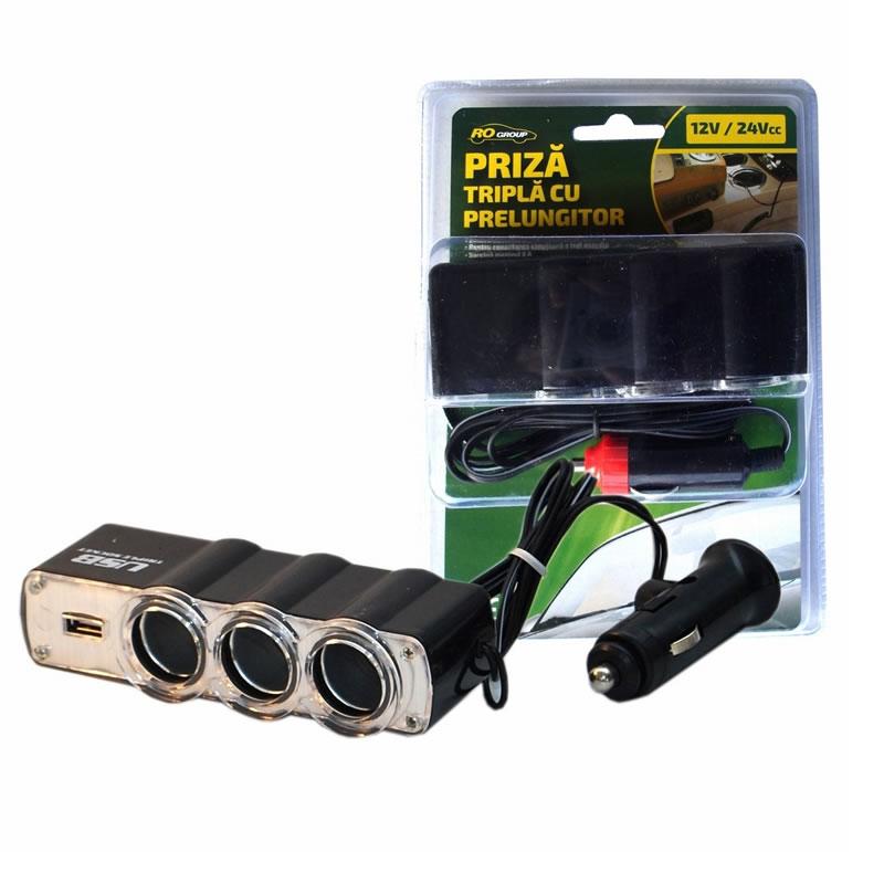 Priza bricheta tripla Ro Group, 12/24V, USB 2021 shopu.ro