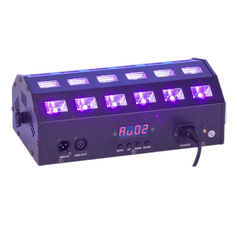 Proiector LED 2 in 1, albe si UV, DMX, 24 x 3 W 2021 shopu.ro
