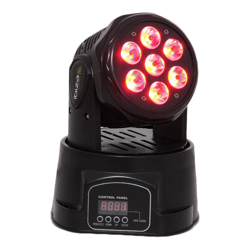 Proiector lumini Moving Head 4 in 1, 7 LED-uri, 12 canale DMX, 7 x 10 W