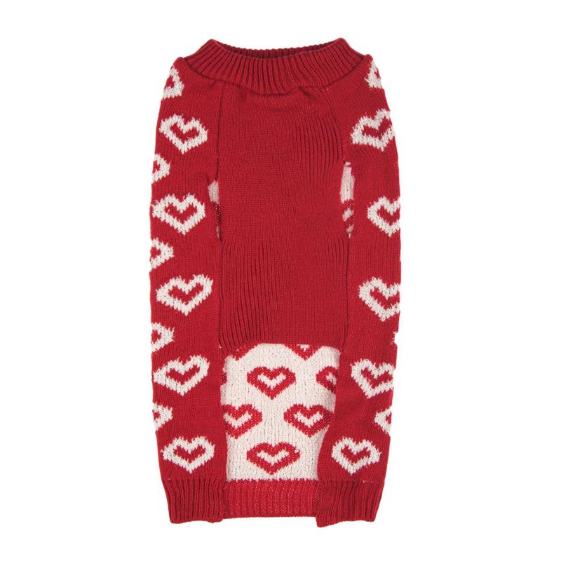 Pulover de iarna pentru catei Hearts, marimea M, model inimi 2021 shopu.ro