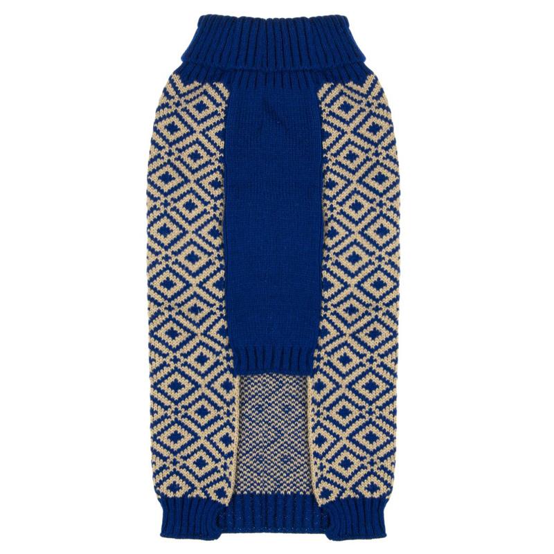 Pulover de iarna pentru catei ZigZag, marimea L, Albastru/Alb 2021 shopu.ro