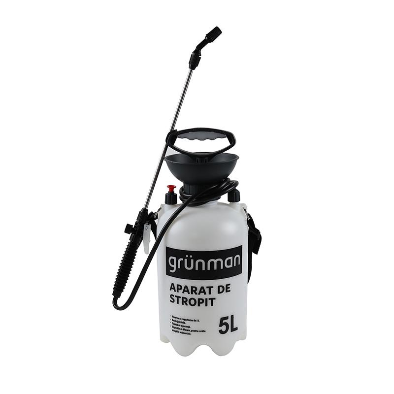 Pulverizator manual Grunman, 5 l, plastic, duza reglabila, Alb/Negru 2021 shopu.ro