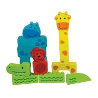 Puzzle bebe 4 Animale Beleduc, 14 blocuri de constructie