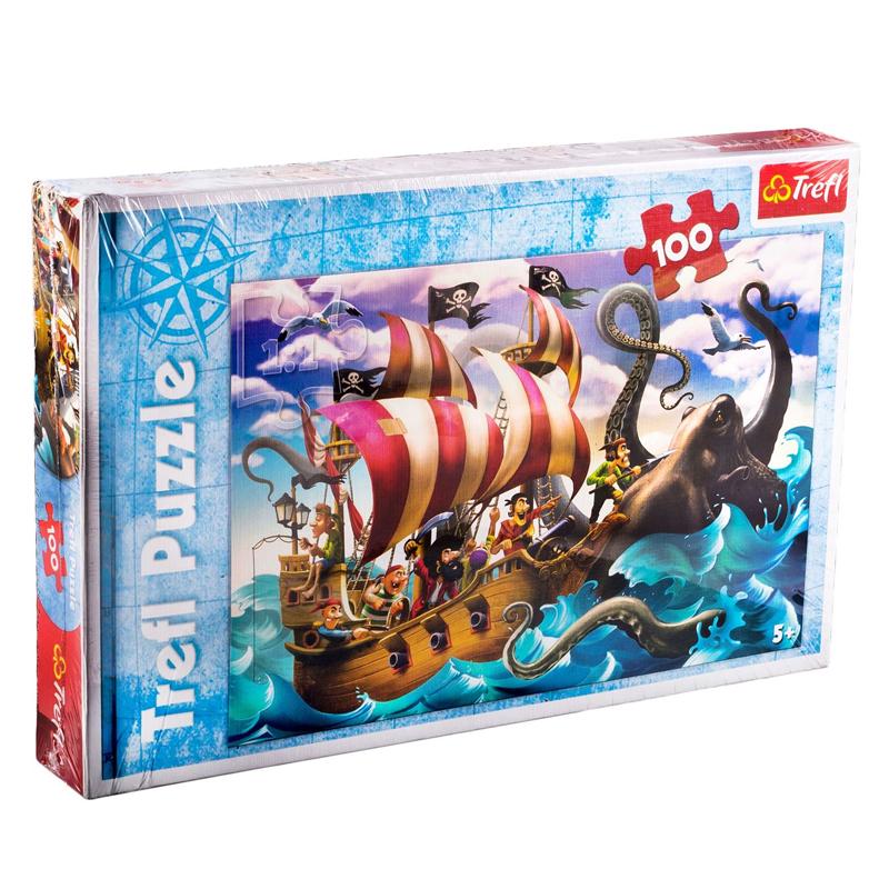 Puzzle copii Trefl, 100 piese, model pirati 2021 shopu.ro