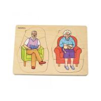 Puzzle stratificat Bunica si Bunicul, 40 piese, 10 imagini