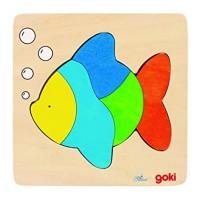 Puzzle Peste Goki, 15 x 15 x 0.8 cm, 5 piese, lemn, 3 ani+