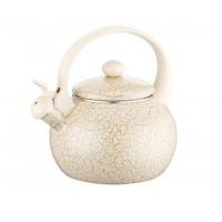 Ceainic din email cu fluier Peterhof, 2 l, inductie, galben