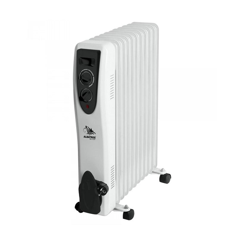 Radiator electric Albatros, 2500 W, 3 trepte putere, termostat reglabil, Alb/Negru 2021 shopu.ro