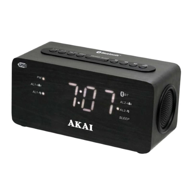 Radio FM cu ceas Akai, Bluetooth 2.0, functie power bank, USB, LED alb, Negru 2021 shopu.ro