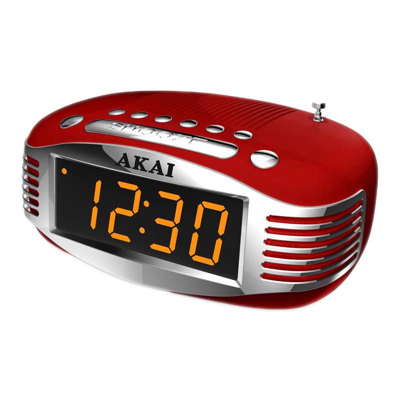 Radio cu ceas Akai, AM/FM, ecran LED, Sleep Timer, alarma, functie snooze, Rosu 2021 shopu.ro