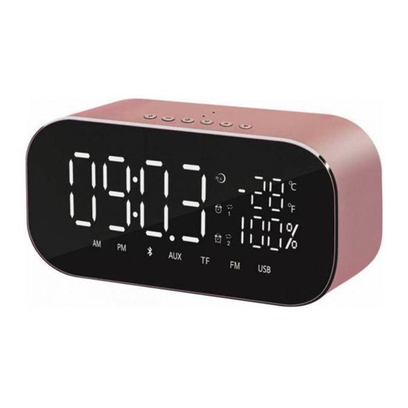 Radio cu ceas Akai, 2 x 3 W, radio FM, Bluetooth, 4.2, carcasa aluminiu, 1800 mAh, ecran tip oglinda, Golden Rose 2021 shopu.ro