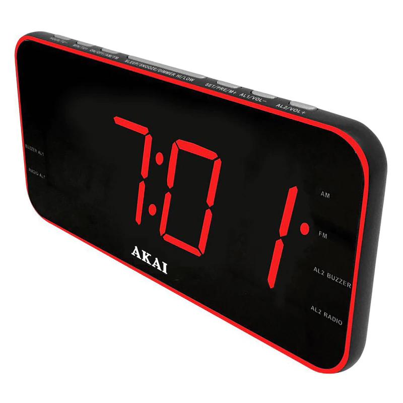 Radio cu ceas Akai, Aux-In, USB, 1 A Charger, afisaj LED, AM/FM, functie snooze/sleep, Negru 2021 shopu.ro