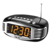 Radio cu ceas Akai, AM/FM, ecran LED, Sleep Timer, alarma, functie snooze, Negru