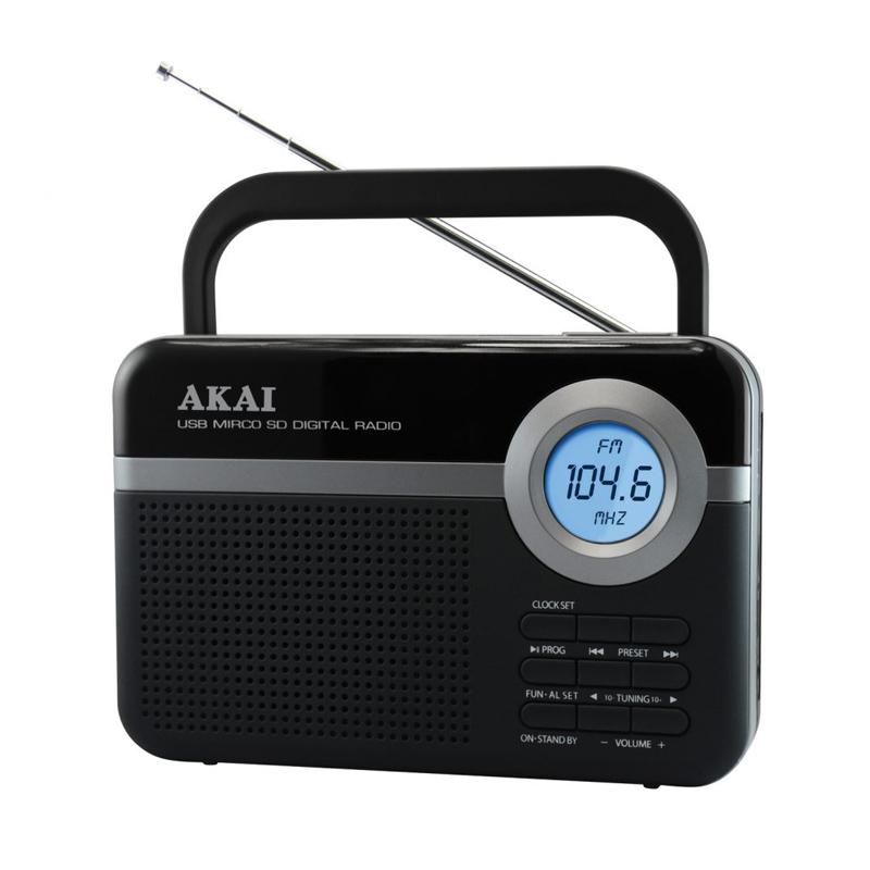 Radio digital FM portabil Akai, 0.8 W, USB, microSD, Aux in, antena FM telescopica, Negru 2021 shopu.ro