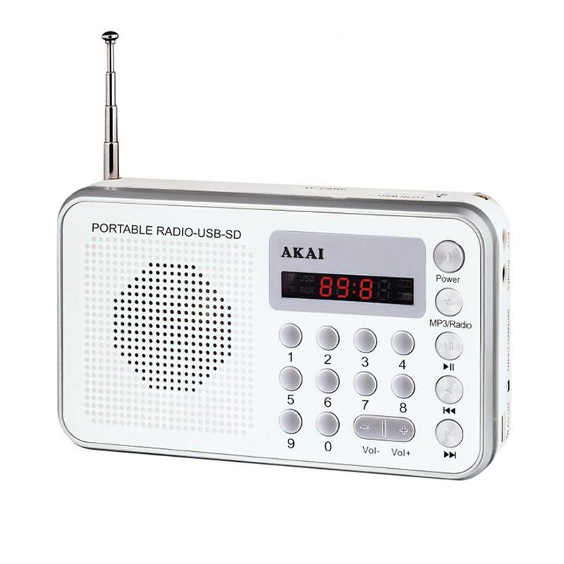 Radio portabil Akai, 1.3 W RMS, USB, afisaj LED, antena FM, alarma, ceas, acumulator, Alb 2021 shopu.ro