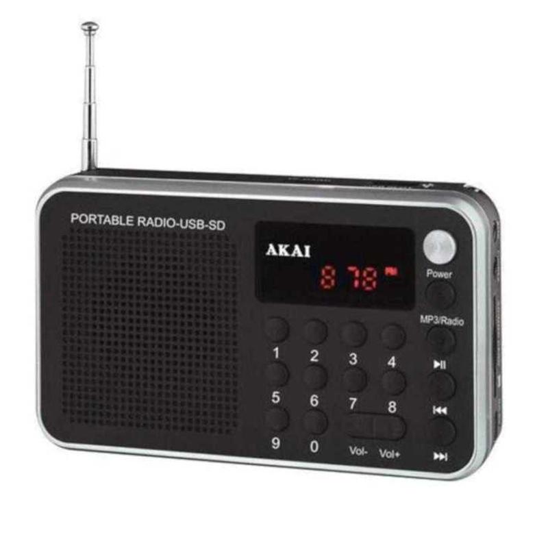 Radio portabil Akai, 1.3 W RMS, USB, afisaj LED, antena FM, alarma, ceas, acumulator, Negru 2021 shopu.ro