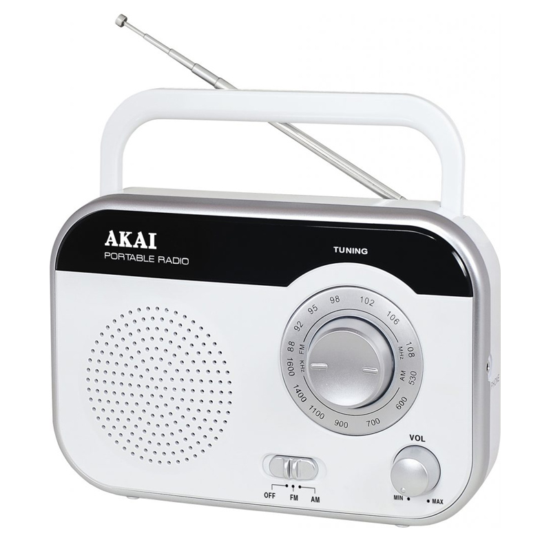 Radio portabil Akai, 1 W RMS, jack casti, adaptor inclus, antena FM, Alb 2021 shopu.ro