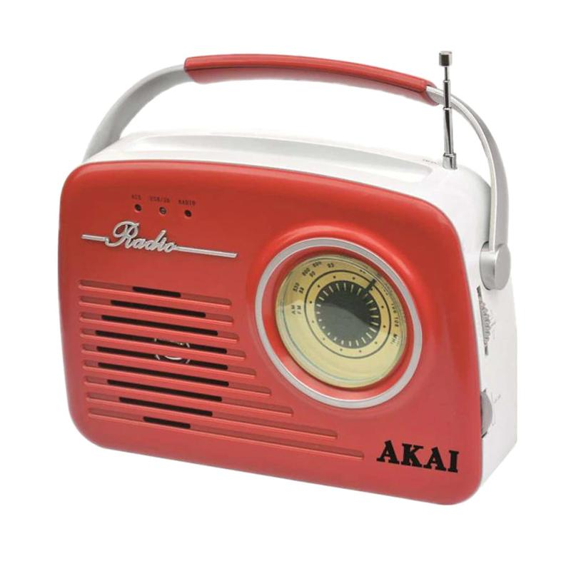 Radio portabil Akai, 11 W, player MP3, USB, supot cardSD, jack Aux-In, display LED, model retro, Rosu 2021 shopu.ro
