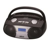 Radio portabil Bluetooth Akai, 3 W, player MP3, jack Aux-In, display LED, Negru